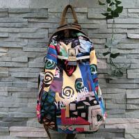 阎双创造 新款民族风专柜女包 2093-3抽图韩版丝光棉麻帆布包 大容量旅行运动背包学生书包