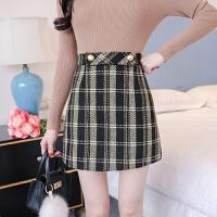 冬季新款大码复古格子高腰毛呢半身裙女加厚显瘦a字裙呢子短裙子