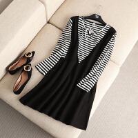 大码女装秋装新款时尚韩版假两件条纹连衣裙胖mm系带打底中裙