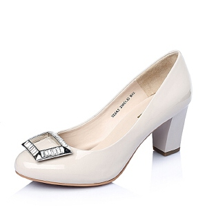 Belle/百丽春季专柜同款黑色漆皮胎牛皮浅口女单鞋3Z6A2AQ6