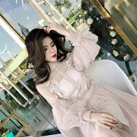 女神范连衣裙秋冬超仙蕾丝网纱灯笼袖过膝吊带裙套装女冬两件套裙