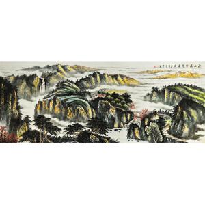 时发仁《秋山飞云清溪流》著名画家 有作者本人授权 1.8米12平尺