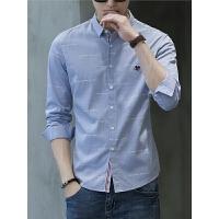男士长袖衬衫男韩版潮流印花青年个性帅气纯棉休闲寸衬衣