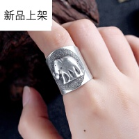 2018抖音网红新品泰国清迈个性手工复古925银戒指 大象神开口宽版指环