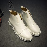 米乐猴 春季高帮板鞋男增高白色休闲鞋拉链鞋子男潮鞋高帮皮鞋男