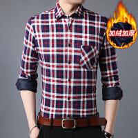 青年学生韩版潮流打底衫秋冬季加绒衬衫男士保暖长袖格子衬衣