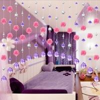 玫瑰花水晶珠帘 挂帘成品 帘子隔断 门帘 客厅玄关珠帘