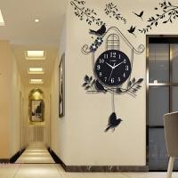 壁挂墙饰卧室大厅时钟壁挂式木质鹿挂钟圆形家居大号个性客厅钟饰 黑色 8相框 大树贴 其他