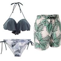 沙滩情侣装三件套性感套装海边度假蜜月装新款泳装情侣泳衣