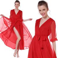 夏V领波西米亚喇叭长袖红色雪纺连衣裙高腰显瘦飘逸大摆沙滩长裙