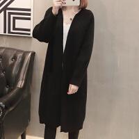开衫女中长款长袖针织衫毛衣外套春装2018新款宽松韩版女士大衣潮