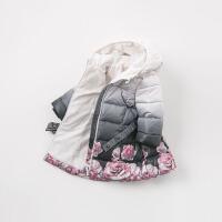 加厚戴维贝拉冬季新款女童棉衣宝宝连帽棉服DB8577