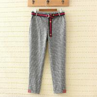 时尚韩版英伦格子裤加肥加大胖MM松紧腰弹力修身显瘦铅笔小脚裤