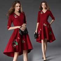 秋装新款连衣裙中长款v领七分袖收腰绣花红色大摆裙名媛气质