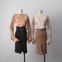 【两件套】6 秋季韩版圆领蕾丝上衣+吊带背心