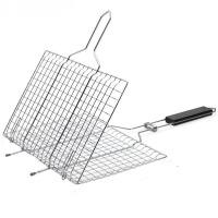 烧烤网 不锈钢烤串方形网架便携式坚固防烫网夹子大容量烧烤工具配件折叠烤鱼夹子 烧烤网