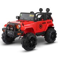 婴儿童电动车四轮可坐人遥控汽车1-3岁4-5摇摆童车宝宝玩具越野车 中国红丶双驱双电+普通轮+皮座 两个6V4.5电瓶