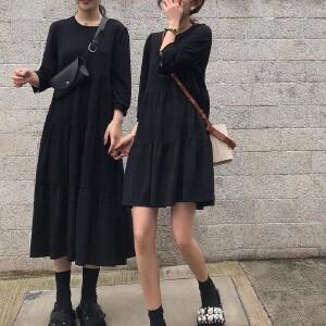 哆哆何伊出街必备 长短随心 七分袖黑色针织连衣裙女 显瘦闺蜜装