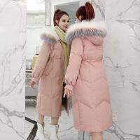 羽绒女中长款冬季韩版收腰过膝粉红色棉袄棉衣服外套
