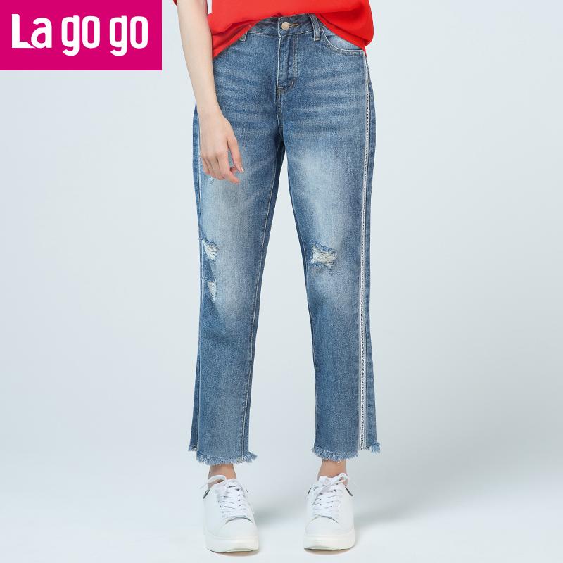 Lagogo2017夏季新款高腰阔腿裤牛仔裤女破洞拼接毛边长款直筒裤