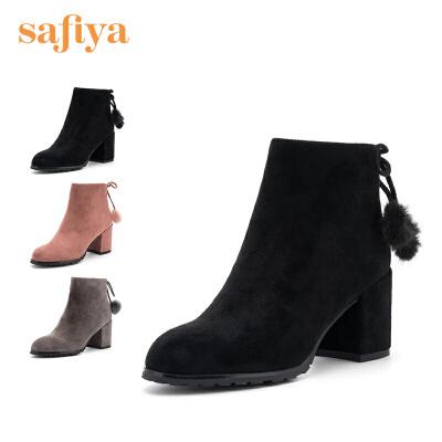Safiya/索菲娅2018冬季新款潮流时尚粗跟高跟女短靴子SF841160101.15-1.20年货节,全店满199减30,满399减100