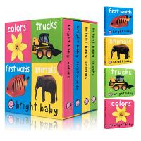 儿童英文原版 Bright Baby First Words/Animals/Trucks/Colors 4册纸板书合售 儿童绘本 儿童启蒙 低幼纸板书