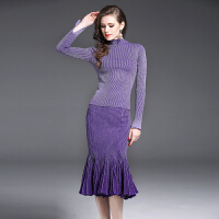 欧美风秋装长袖连衣裙优雅修身针织连衣裙条纹鱼尾裙时尚女套装裙