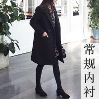 2018秋冬新款西装领毛呢外套女韩版修身显瘦中长款黑色妮子大衣女
