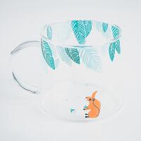 创意可爱家用带盖勺耐热玻璃杯子早餐牛奶杯办公室咖啡杯情侣水杯