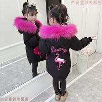 女童棉衣2018新款大儿童洋气冬装羽绒棉袄中长款加厚女孩外套