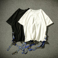 男装夏天圆领上衣加大码胖子嘻哈T恤男女系带短袖男开叉T恤