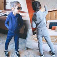 儿童运动套装女加绒新款中大童纯棉冬装运动加厚卫衣长裤两件套装