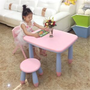 门扉 桌椅 新款双层加厚加固防滑防撞幼儿园儿童宝宝小孩学习书桌彩色安全桌椅套装