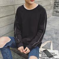 秋季新款欧美潮牌宽松拉链卫衣男士套头圆领上衣韩版青年长袖体恤