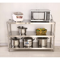 厨房用品3层置物架实用落地多层收纳架子不锈钢三层家用微波炉架