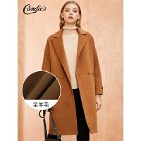 【满300减30】全羊毛毛呢大衣女中长款拉夏贝尔秋冬季新款韩版修身呢子外套