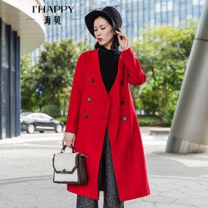 海贝2017冬季新款女装外套 V领长袖高腰双排扣中长款羊毛呢大衣女