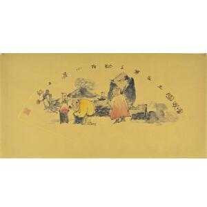 当代工笔画协会会员 卢静《赏秋图》69*35cm