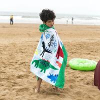 儿童浴巾斗篷纯棉加厚加大浴袍帽游泳披风可穿沙滩巾 带扣 恐龙 127x76cm