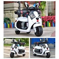 儿童电动摩托车三轮车1-3-6岁男女孩宝宝充电2大号4玩具车5可坐人 白色单驱小电瓶 代音乐早教+礼品