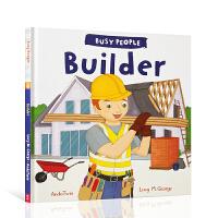 【全店300减110】进口英文原版绘本 忙碌的人们建筑师Busy People:Builder低幼启蒙探索世界 3-5岁