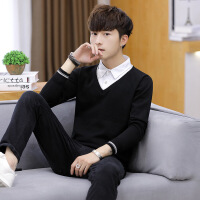 衬衫领毛衣男假两件韩版带领加绒拼接男装套头潮流男士针织羊毛衫