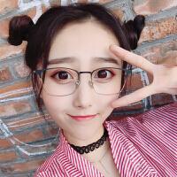 复古眼镜框男士大脸全框成品眼镜架女半框韩版潮方圆脸