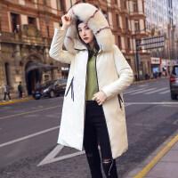 大毛领派克羽绒服女中长款白色2018冬季新款韩版时尚白鹅绒狐狸毛