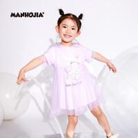 商场同款MHJ漫画家童装夏装新款女童裙子拼接连衣裙公主裙