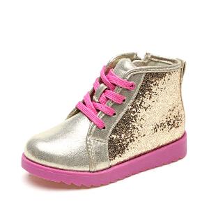 儿童定制圆头童鞋女童靴子 韩版短靴新款亮片板鞋