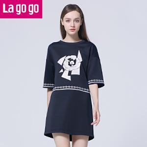 Lagogo/拉谷谷2016春季新款印花舒适圆领五分袖连衣裙