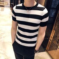 春季男士韩版修身条纹海魂衫英伦休闲圆领打底针织衫短袖T恤