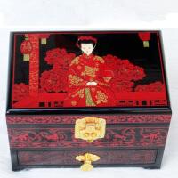 平遥推光漆器首饰盒 复古多层带锁木质漆盒 嫁妆梳妆盒送闺蜜