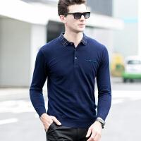 伯克龙新款男翻领羊毛衫纯色纯羊毛针织衫长袖羊毛polo衫打底衫毛衣 Z7656